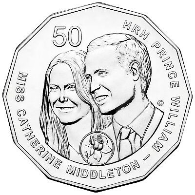 2011 PNC Royal Wedding Prince William & Kate Middleton Unc 50c Coin