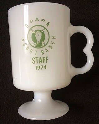 RARE D Bar A Scout Ranch STAFF 1974 mug BOY SCOUTS VINTAGE CAMP MILK GLASS CUP