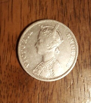 1890 British India - One Rupee Silver Coin