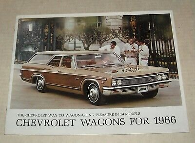 1966 Chevy Wagons Advertising Auto Sales Dealership Color Brochure Booklet