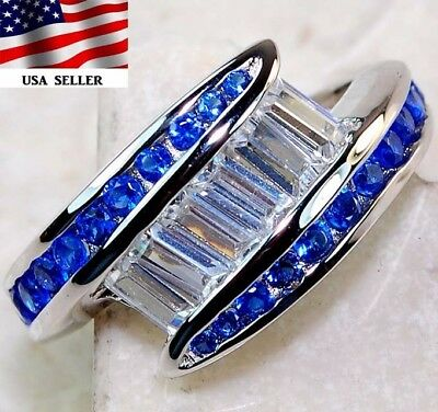 2CT Sapphire & White Topaz 925 Solid Genuine Sterling Silver Ring Jewelry Sz 8