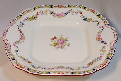 MINTON Rose A4807 SQUARE 2-HANDLED CAKE PLATE (OLDER BACKSTAMP, SMOOTH) MustSee!