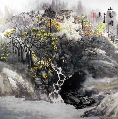 """Oriental Chinese Painting Feng Shui Huge Ink Art-Home in the Mountain 19x19"""""""