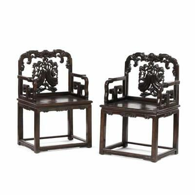 A Pair of Chinese Carved Hardwood Antique Arm Chairs Lot 338