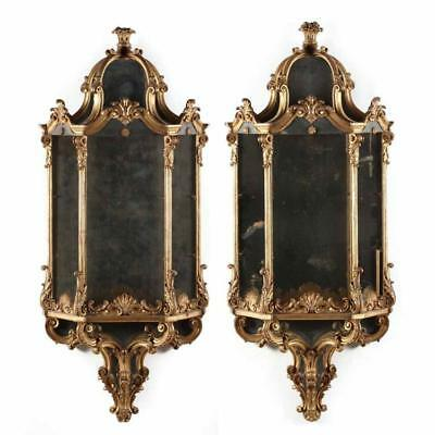 Pair of Classical Carved and Gilt Mirrored Wall Mount Shelves Lot 234