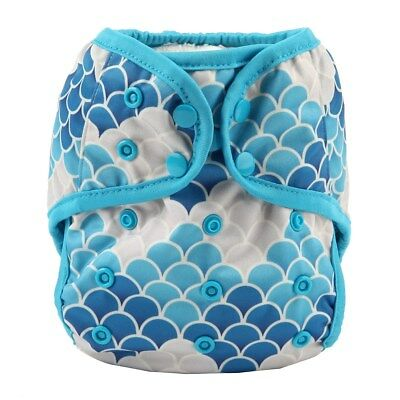 Baby Diaper Cover Nappy Cover Double Gussets Reusable One Size For Girls Mermaid
