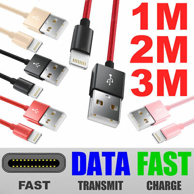Strong Lightning Duty Braided 1M 2M USB Charger Cable For iPhone 6 6S 7 8 X IPad
