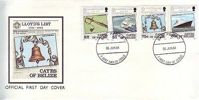 Cayes of Belize - 250th Anniversary of Lloyds List (PO FDC) 1984