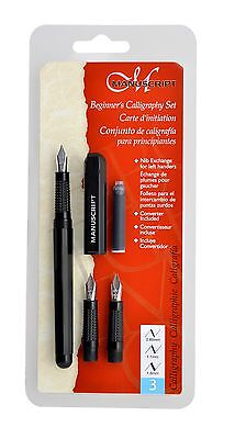 Manuscript Beginners 3 Nib Calligraphy Fountain Pen Set Fine Medium 2B Mc1235