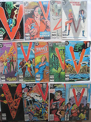 V : THE VISITORS ARE OUR FRIENDS - COMPLETE RUN OF #s 1 - 11 + 13,14. DC. 1985