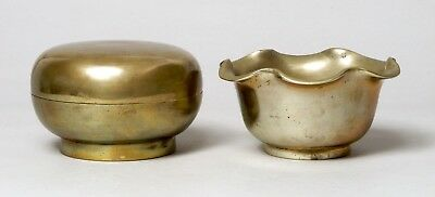 Good Unusual Antique Chinese Bronze Brass Box & Bowl Censer, 19Thc Or Earlier