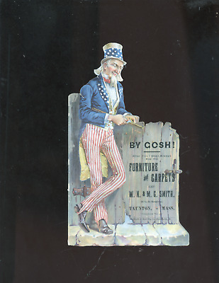 1880's Uncle Sam die-cut trade card, Taunton MA,Smith Furniture Carpets