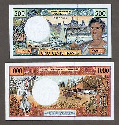 FRENCH PACIFIC 500 + 1000 Francs French Polynesia New Caledonia France
