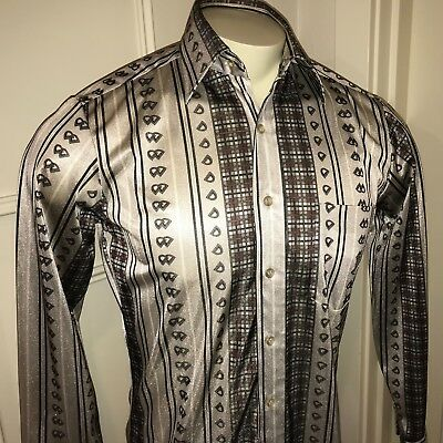Vtg 70s Kingsport SILVER Mens SMALL Disco POLYESTER Saturday Night Fever shirt S