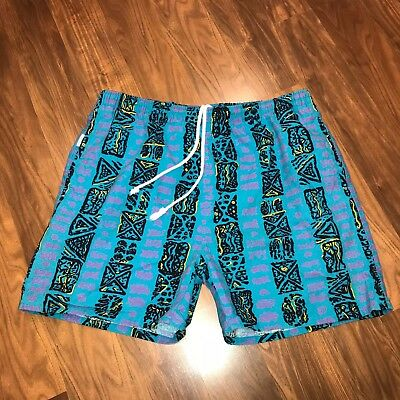 Vtg 80s 90s PANIC Blue NEON Mens LARGE Cotton Swim trunks chubbies SURF shorts