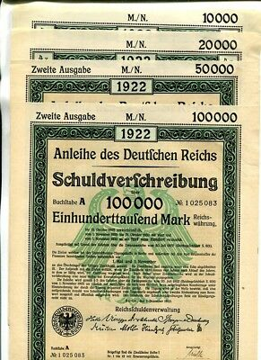 Germany 1922 War Bond Lot Of 4 10,000 20,000 50,000 100,000