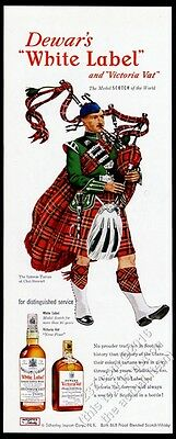1952 Clan Stewart tartan bagpipes piper art Dewar's Scotch Whisky vintage ad