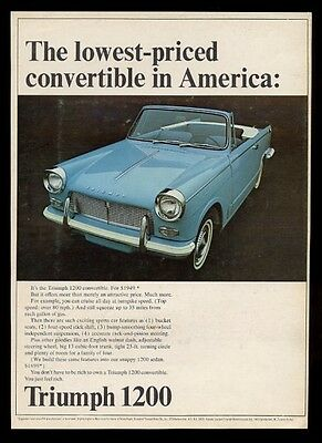 1965 Triumph 1200 convertible car color photo vintage print ad