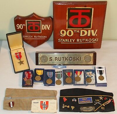 WW2 US Army 90th Div. Archive: Named Medals, Dog Tag, Photos, Plaques, POW, Hats