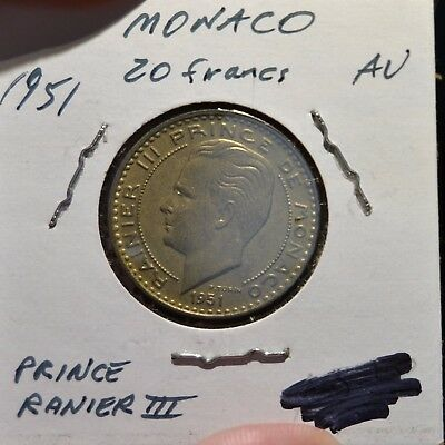 Monaco 1951 20 Francs Excellent Condition Well Struck Ranier III - A85