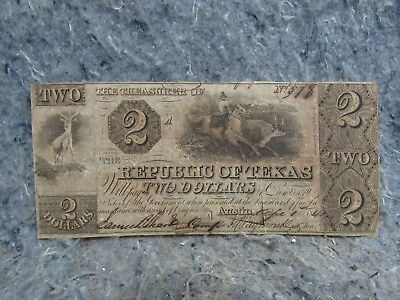 REPUBLIC OF TEXAS CUT AND CANCELED TWO DOLLAR CHANGE NOTE Nice Original 1841