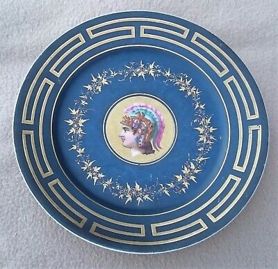 Antique Continental Paris Porcelain Plate Decorated In Roman Neoclassical Style