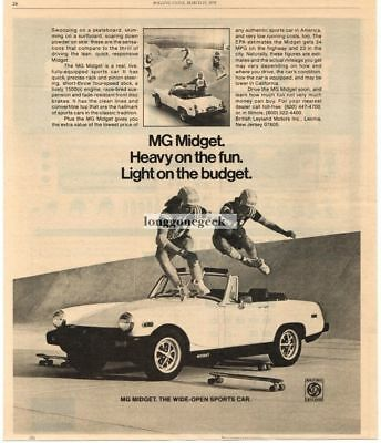 1978 MG Midget Skateboarders Jumping Over Vtg Print Ad