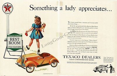 1940 TEXACO Registered Rest Rooms Little Girl Doll Pedal Car 2-page VTG PRINT AD