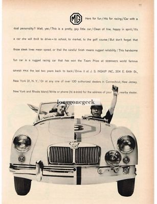 1959 MG His and Hers Racecar and Sportscar VTG PRINT AD