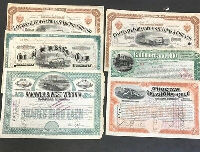 1887-1914 Rare Vintage Railroad Stock Certificate Lot (6) Assorted Must See