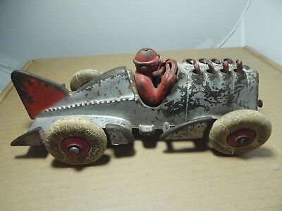 VINTAGE HUBLEY CAST IRON RACE CAR FANTAIL* DRIVER -SILVER & RED-Rubber Wheels
