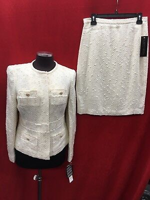 """Albert Nipon Skirt Suit/tweed/ivory/size 4/lined/skirt Length 24""""/new With Tag"""