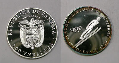 1988 One Balboa Panama Silver Olympic Proof 15 Gr Cats $50 Inv#321-91