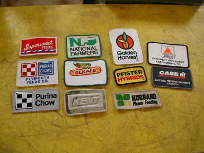 11 VINTAGE SEED AND FEED & FARM RELATED Cloth Patches -,HUBBARD,KENT,dekalb