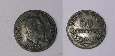 1867 Italy Silver 50 Cent. 83.5% 2.5 Gr Vf/xf Inv#321-11