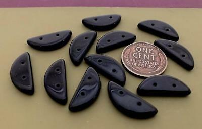 Vintage 8 x 19mm 2 Hole Jet Black Glass Bridge Beads Findings 12