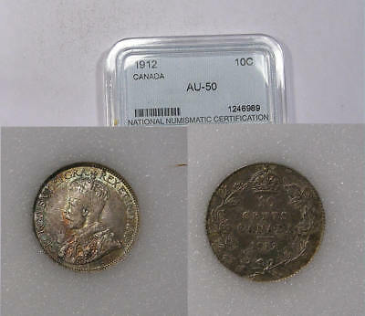 1912 Canada Sterling Silver 10 Cents  Detailed, Color U Grade It Inv#321B-12