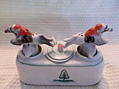 Vtg.race Horse Nodding Shakers With Condiment Center & Spoon Japan