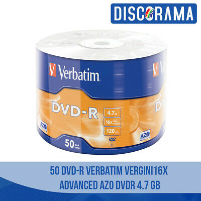 50 Dvd -R Verbatim Vergini Vuoti 16X Advanced Azo Dvdr 4.7 Gb Originali Dischi