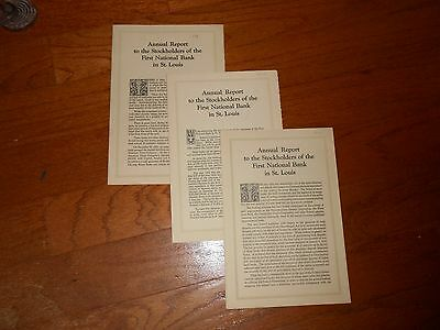 Three Annual Reports, 1931, 1932, 1933, First National bank In St. Louis