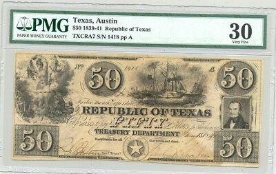 Republic of Texas-issued $50 red star banknote with Mirabeau Lamar's signature