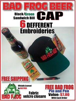 BAD FROG BEER CAP Black/Green - NEW - BEER Hat - FREE Pin & Pen - 6 Embroideries