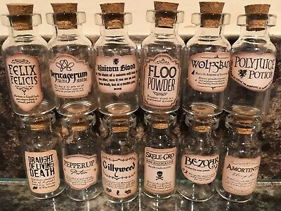 12x HARRY POTTER WIZARD   INSPIRED , MINIATURE POTION BOTTLES   4CM x 1.8CM