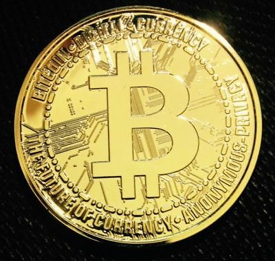 24K Gold Plated 1 Oz .999 Fine Copper Round - Bitcoin Digital Currency