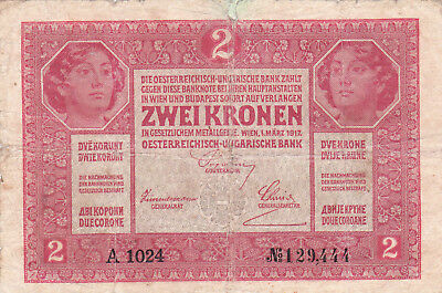 2 Korona/kronen Vg Banknote From Austria 1917!rare,a Serial  Issue!