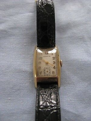 Vintage Men's Wristwatch Hamilton Art Deco 1930's Gold Filled Small Seconds Old