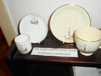 Goss and Crown Devon Crested China Cup & Saucers - Transfers The Cross, Banbury