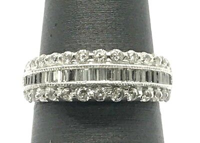 Sterling Silver Elegant Baguette CZ Triple Row Wedding Cocktail Band Ring Size 7