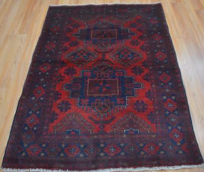 3'5 x 5'1 Top Quality Afghani Turkmen Khal Mohammadi Hand Knotted Wool Area Rug