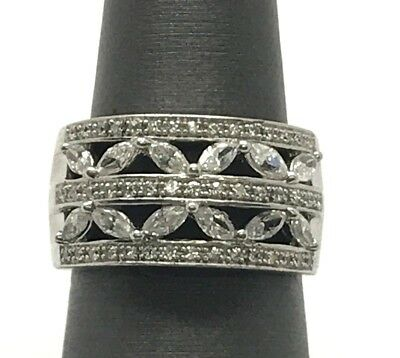 Sterling Silver Wide CZ Pave Triple Row Marquise X Elegant Cocktail Band Ring